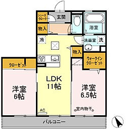 (仮)D−room中央[102号室]の間取り