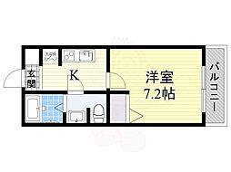 JR東海道・山陽本線 JR総持寺駅 3.6kmの賃貸アパート 1階1Kの間取り
