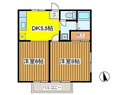 東京都府中市西府町3丁目の賃貸アパートの間取り
