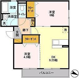 埼玉県三郷市戸ケ崎の賃貸アパートの間取り