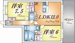 リーガル新神戸パークサイド[3階]の間取り
