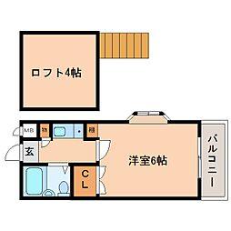 奈良県奈良市富雄川西の賃貸アパートの間取り