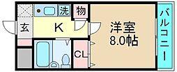 荒本駅徒歩5分 ナンソー・コーポ[3D号室]の間取り