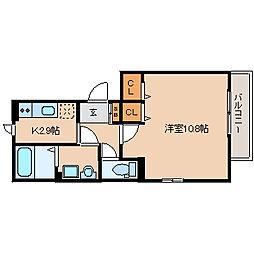 兵庫県尼崎市道意町4丁目の賃貸アパートの間取り