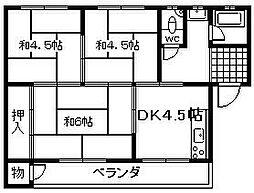 大阪府岸和田市藤井町2丁目の賃貸マンションの間取り