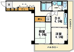天満橋ニュースカイハイツ[2階]の間取り