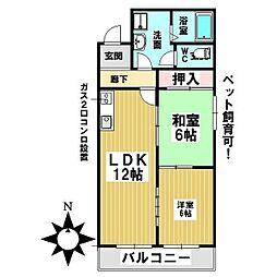 愛知県名古屋市中川区外新町3丁目の賃貸アパートの間取り