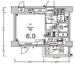 京急空港線 大鳥居駅 徒歩9分の賃貸マンション 2階1Kの間取り