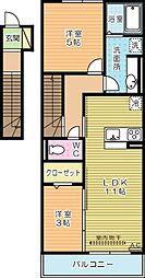 福岡県北九州市小倉南区横代北町3の賃貸アパートの間取り