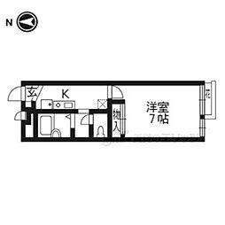 JR東海道・山陽本線 山科駅 徒歩4分の賃貸アパート 1階1Kの間取り