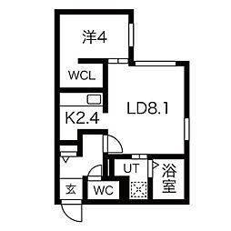 札幌市営東西線 発寒南駅 徒歩2分の賃貸マンション 4階1LDKの間取り
