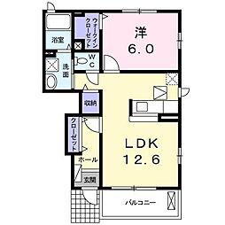 長野県千曲市大字桜堂の賃貸アパートの間取り