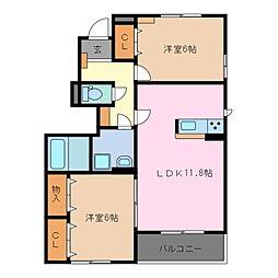 三重県鈴鹿市寺家4丁目の賃貸アパートの間取り