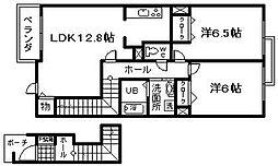JR阪和線 長滝駅 徒歩14分の賃貸アパート 2階2LDKの間取り