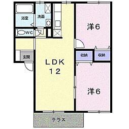 エトワールK[1階]の間取り