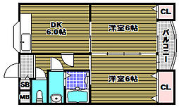 エクセル酒谷 2階2DKの間取り