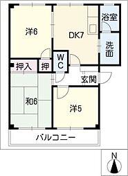 サンハイムみどりA・B[2階]の間取り