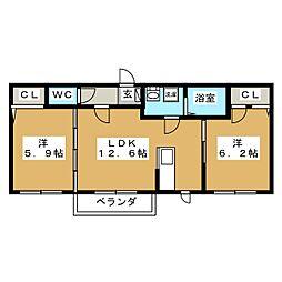 シャーメゾン薬師堂II[1階]の間取り