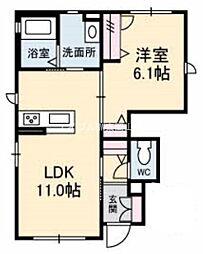 岡山県岡山市中区福泊の賃貸アパートの間取り