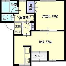 秋田県横手市八幡字上鶴田の賃貸アパートの間取り