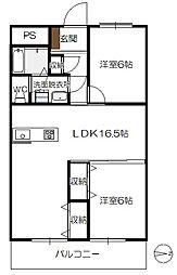 水戸第3ビル[201号室]の間取り