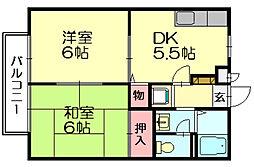 福岡県糟屋郡須惠町大字佐谷の賃貸アパートの間取り
