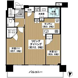 ザ・ファインタワー梅田豊崎 36階2LDKの間取り
