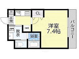 JR大阪環状線 大阪城公園駅 徒歩10分の賃貸マンション 3階1Kの間取り
