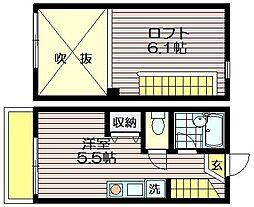 東京都調布市菊野台3の賃貸アパートの間取り