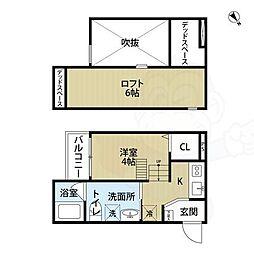 南海線 湊駅 徒歩5分の賃貸アパート 2階ワンルームの間取り