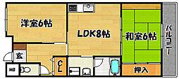 大阪府大阪市東淀川区上新庄2丁目の賃貸マンションの間取り