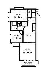 ヒヨシハイツ[3階]の間取り