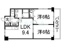 クレアール弐番館[6階]の間取り