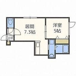 北海道札幌市東区北四十三条東16の賃貸アパートの間取り