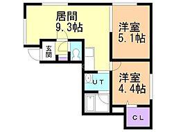 札幌市営東西線 琴似駅 徒歩8分の賃貸アパート 1階2DKの間取り