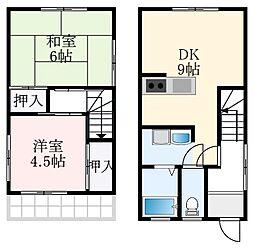 泉北高速鉄道 深井駅 徒歩19分の賃貸一戸建て 2階2DKの間取り