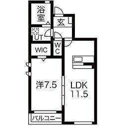 JR仙石線 福田町駅 徒歩22分の賃貸アパート 1階1LDKの間取り