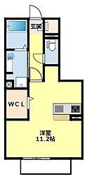 愛知環状鉄道 三河豊田駅 徒歩14分の賃貸アパート 1階ワンルームの間取り