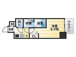 Osaka Metro中央線 九条駅 徒歩2分の賃貸マンション 10階1Kの間取り