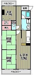 ウエストカーサ[2階]の間取り