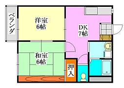タウンコート平成[203号室]の間取り
