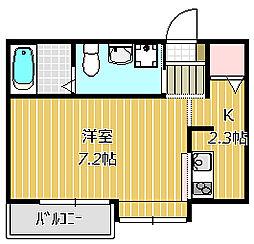 市川市福栄新築AP 3階1Kの間取り