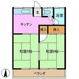 飯田ハイツ 1号棟[2階]の間取り