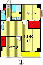 大島レジデンス北小金[2階]の間取り