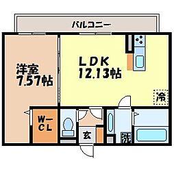 ラフィット 2階1LDKの間取り