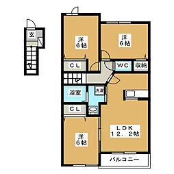 ユナイテッドステージ A[2階]の間取り