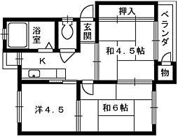 綾園団地[4階]の間取り