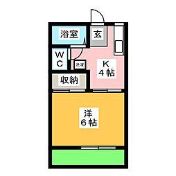 コーポ上野D[1階]の間取り