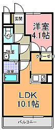 Casa felice 2階1LDKの間取り