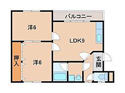 和歌山県和歌山市有家の賃貸マンションの間取り